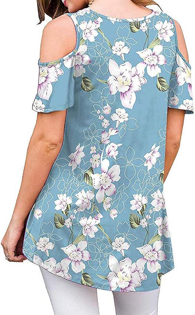 Closhion Womens Cold Shoulder Floral Print Tunic Tops Loose Blouse T Shirts