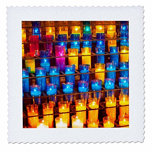 3dRose Danita Delimont - Patterns - Prayer candles, Monastery of Montserrat, Barcelona, Catalonia, Spain. - 16x16 inch quilt square (qs_257897_6) by 3dRose