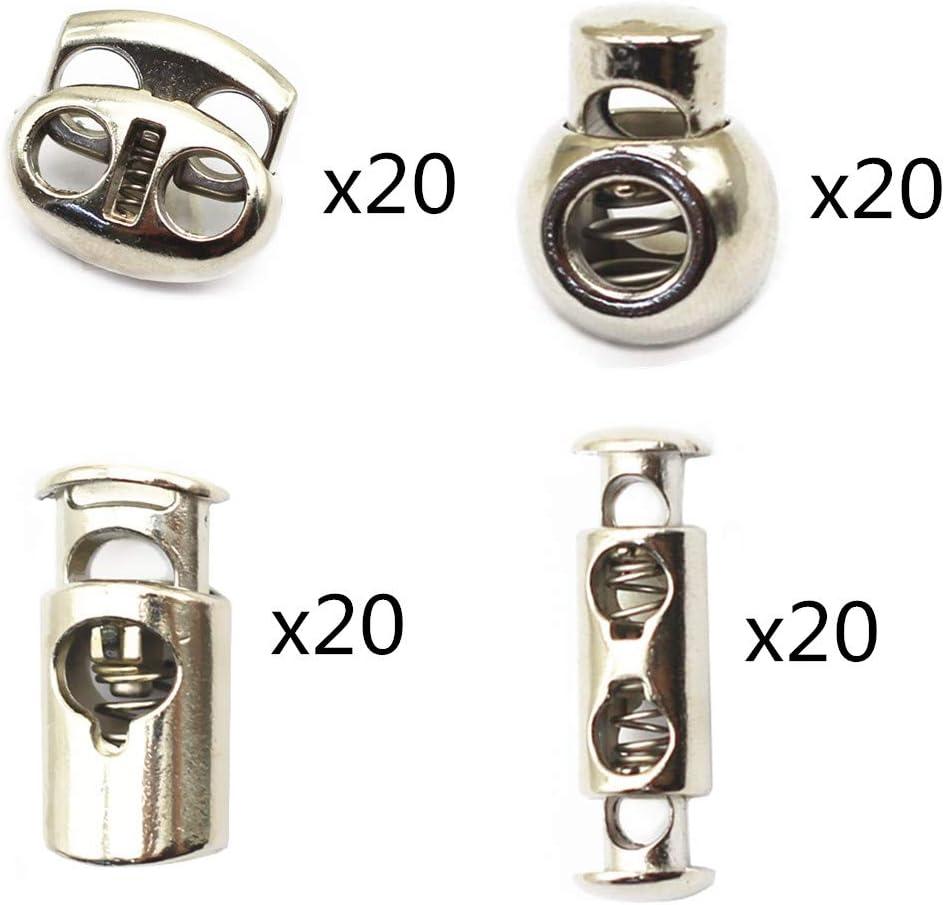 TANG SONG 80PCS Metal Professional DIY Spring Fastener Cord Lock Toggle Stopper Buttons Fastener Slider