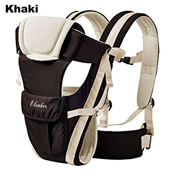 afcae4deef6 Amazon.com   ELENKER Adjustable 4 Positions Carrier 3D Backpack Pouch Bag  Wrap Soft Structured Ergonomic Sling Front Back Newborn Baby Infant Khaki    Baby