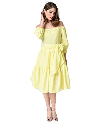 f80b3e5eee01 BC International Yellow Off-Shoulder Cotton Dress  Amazon.in  Clothing    Accessories