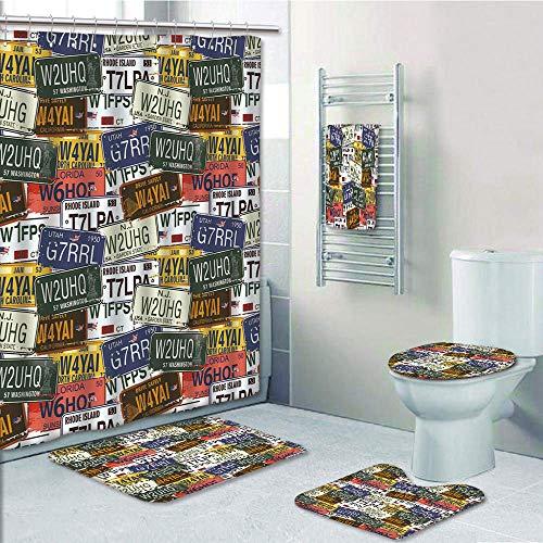 Bathroom Fashion 5 Piece Set shower curtain 3d print,USA,Retro American Auto License Plates Utah Washington Rhode Island North Carolina Print,Multicolor,Bath Mat,Bathroom Carpet Rug,Non-Slip,Bath Towl