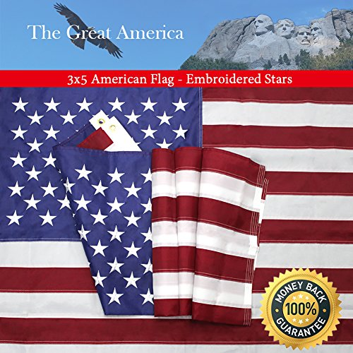 American Flag 3x5 Foot with Embroidered Stars,Premium US Flag for Outdoor and House,Brass Grommets and Sewn...