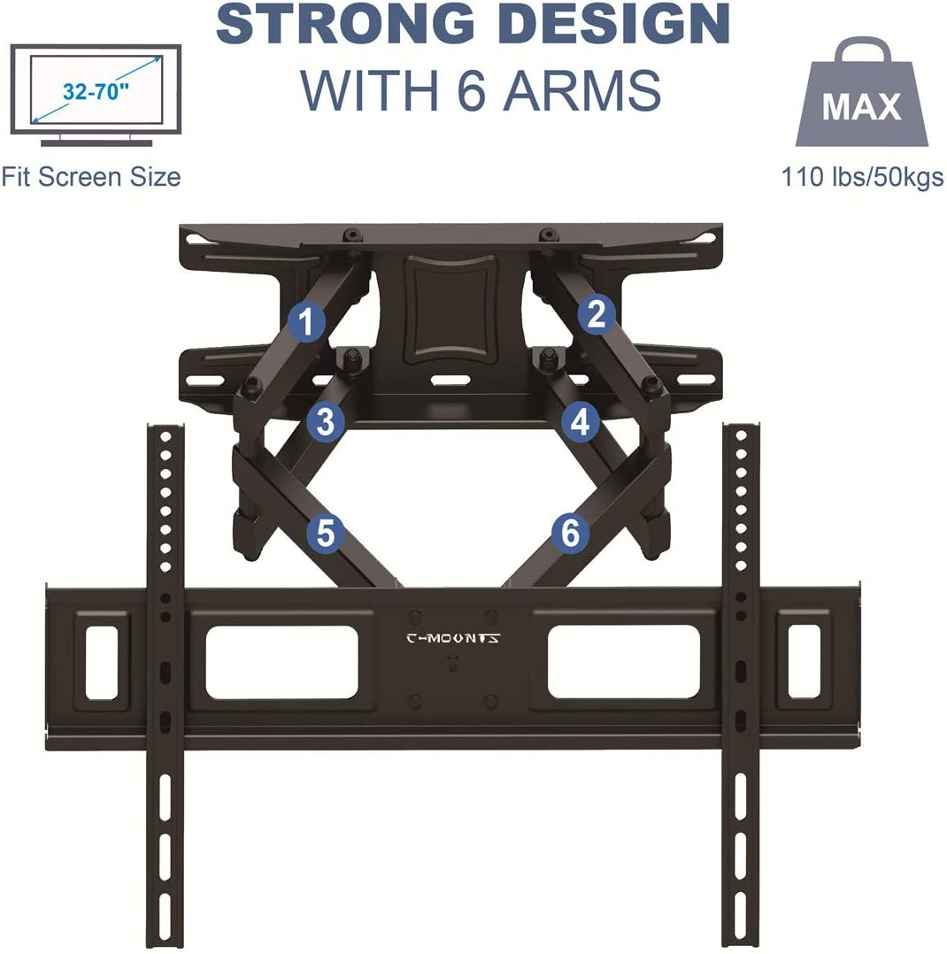 TV Wall Mount Bracket for Most 32-70 inch LCD LED TVs,with Full Motion Dual Swivel Tilt Articulating Arm, up to VESA 600X400 and 110lbs, Mounts to Two 16 Studs