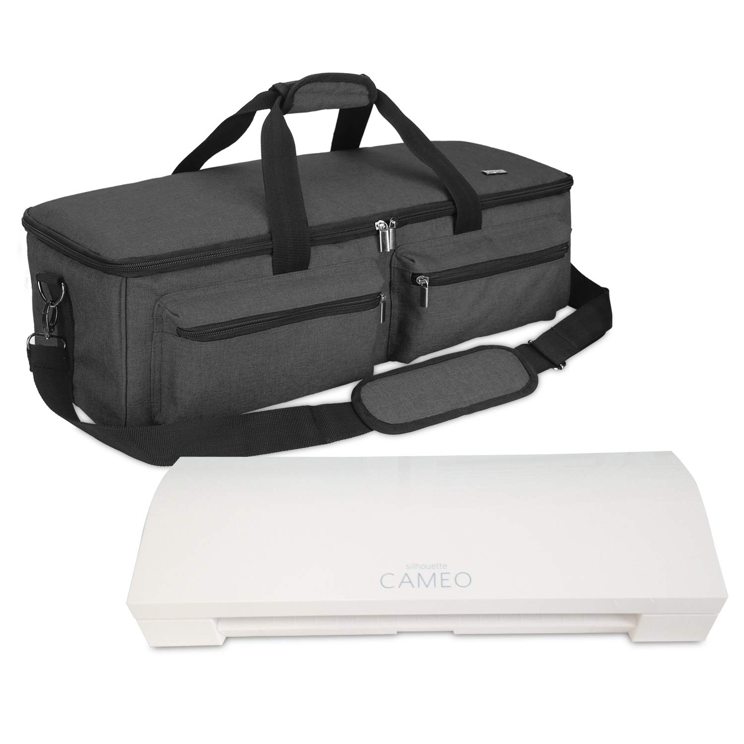 Luxja Bag for Silhouette Cameo 3, Carrying Case for Cutting Machine and Accessories, Compatible with Cricut Explore Air (Air2), Cricut Maker and Silhouette Cameo 3, Black (Patent Pending) by LUXJA