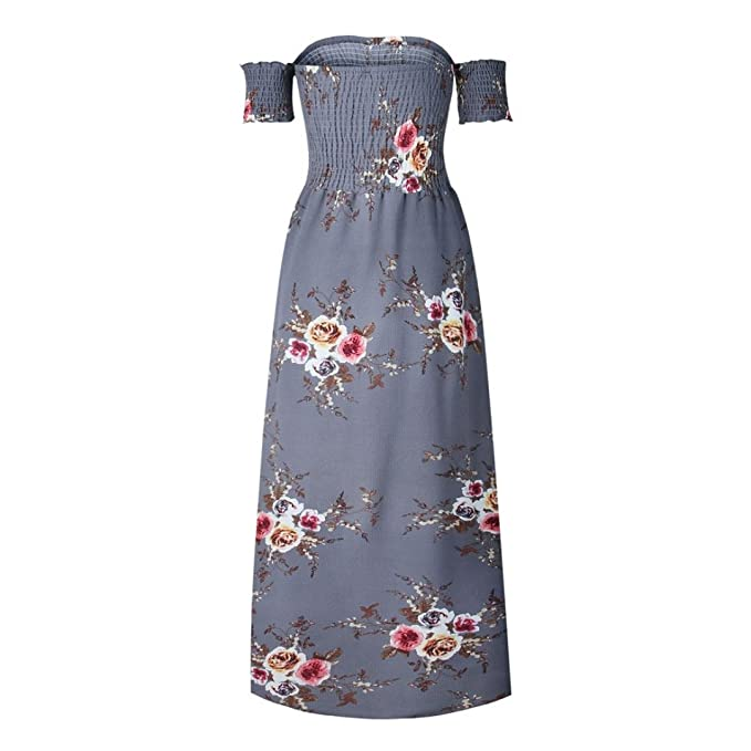 Hongxin Floral Print Halter Chiffon Dress Women Backless Vestidos Sexy Boho Off Shoulder Split Beach Sundress at Amazon Womens Clothing store: