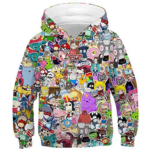 TAKUSHI HF Teen Boys Girls Fashion 3D Printed Galaxy Long Sleeve Pullover Hoodies Hooded Sweatshirts with Pocket 6-13Y(Cartoon,L)