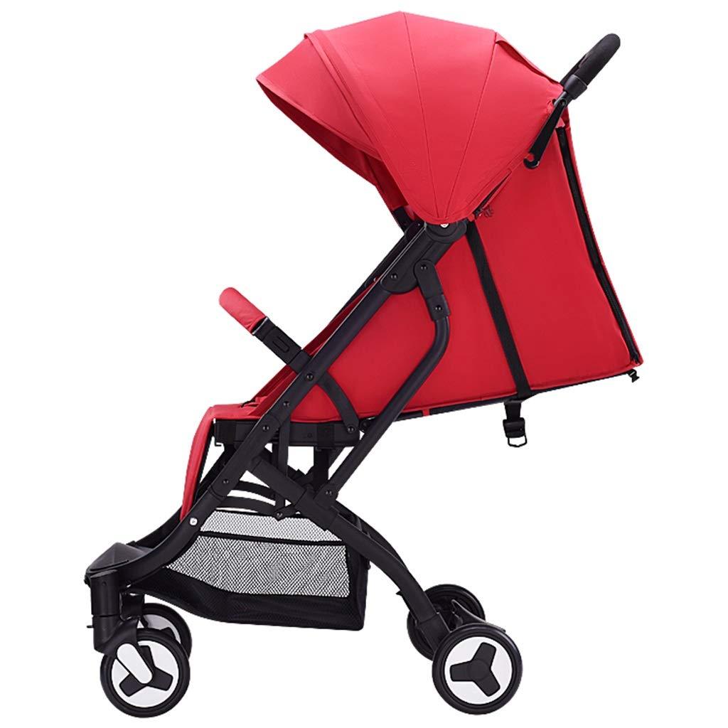 ベビーカーは横たわって座ることができますそして衝撃吸収二重極を折るのは簡単0-3歳のベビーカート(赤)   B07P16KN7V