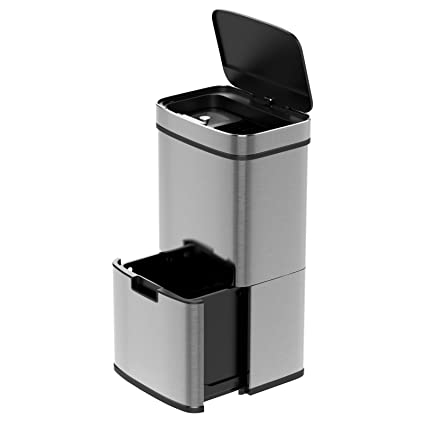 1home 75L Stainless Steel 2 Compartment Sensor Touchless Kitchen Recycling  Bin Silver