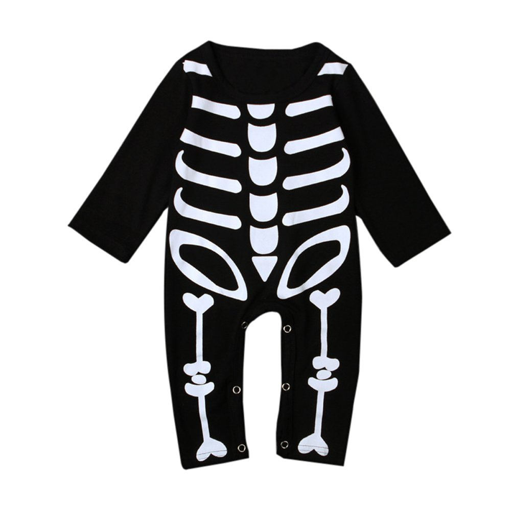 Bom Bom Baby Girls Boys Skeleton Print Romper Halloween Costume