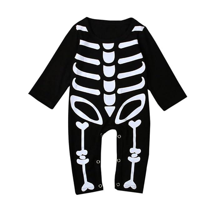 Bom Bom Bebe Halloween Pelele Esqueleto Monos Bodies Manga Larga