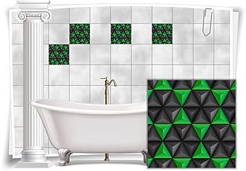 Fliesenaufkleber Fliesenbild Fliesen Aufkleber Mosaik Grün Kachel Bad WC  Küche Deko Kachel Badezimmer, 4 Stück