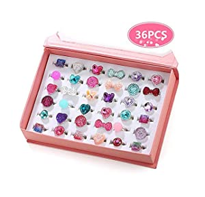PinkSheep Little Girl Jewel Rings in Box, Adjustable, No Duplication, Girl Pretend Play and Dress Up Rings (36 Jewel Ring)