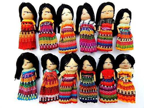 - 12 Guatemalan Worry Dolls 2 Inch with Hair