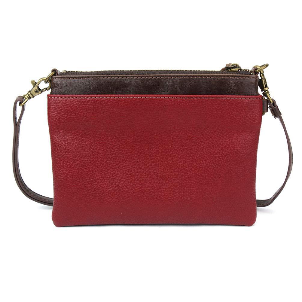 Chala Mini crossbody handväska, multi dragkedja, PU-läder, liten axelväska justerbar rem Dog Gen Ii - Burgundy