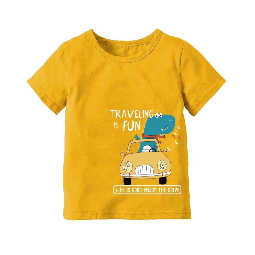 Genuo Boys Summer Cotton T Shirt Dinosaur Travel Pattern Summer Short Sleeve T-Shirt Clothes Red 110