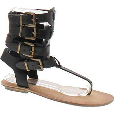 0e29ea91d0c Liliana Women Leatherette Strappy T-Strap Gladiator Thong Sandal DB52 -  Black (Size