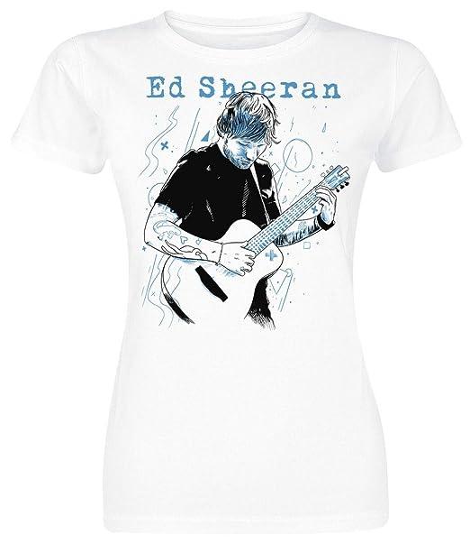 Ed Sheeran Guitar Line Illustration Camiseta Mujer Blanco: Amazon.es: Ropa y accesorios