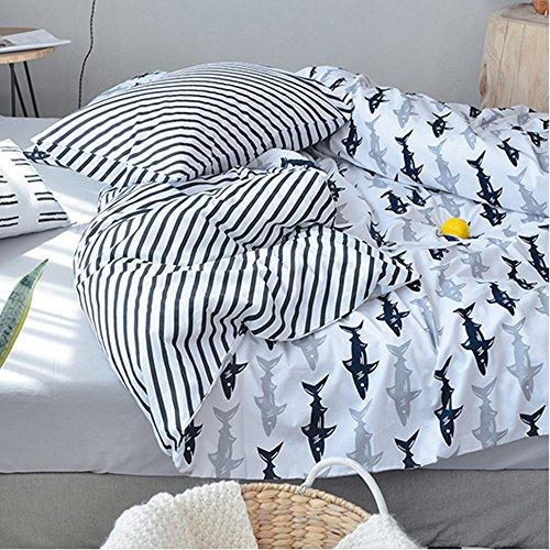 Bulutu Blue Grey Shark Twin Kids Boys Bedding Duvet Cover