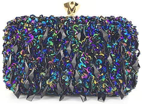ハンドバッグ - 両面ダイヤモンドの女性をぶら下げ、ヨーロッパやアメリカの手のバッグイブニングバッグ手ビーズスパンコールバッグ、誕生日プレゼント、20センチメートル* 12.5センチメートル* 7.5cmとなりクラッチ よくできた (Color : Blue)