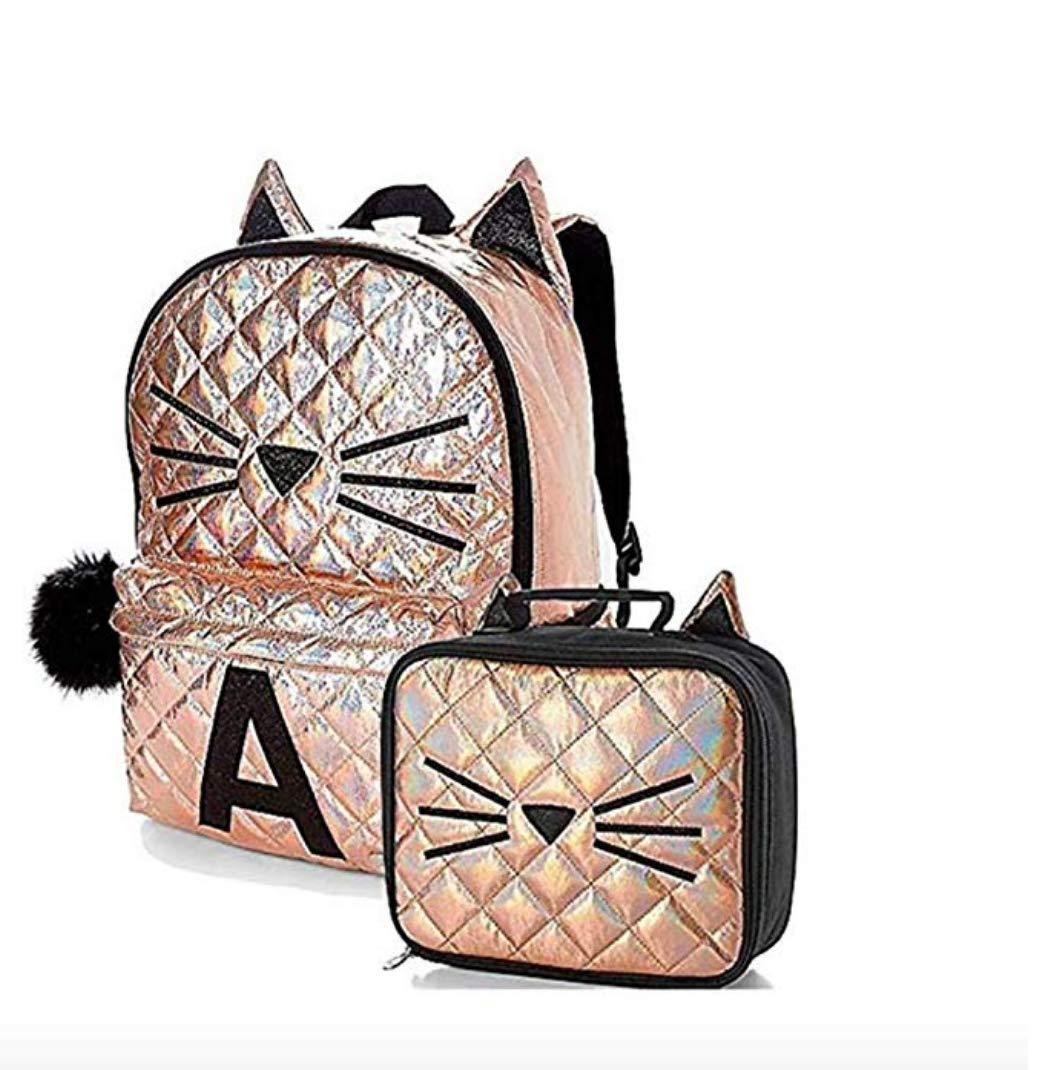 Amazon.com | Justice Set of 2 Initial School Backpack & Lunch Tote Rose Gold Quilted Cat (B) | Kids Backpacks