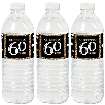 Adult 60th Birthday - Gold - Birthday Party Water Bottle Sticker Labels - Set of 20: Toys & Games