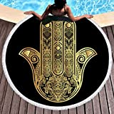 Sleepwish Gold Beach Towel, Round Beach Towel Blanket with Tassels, Boho Round Tapestry, Circle Beach Mats (Hamsa Hand, 60'')