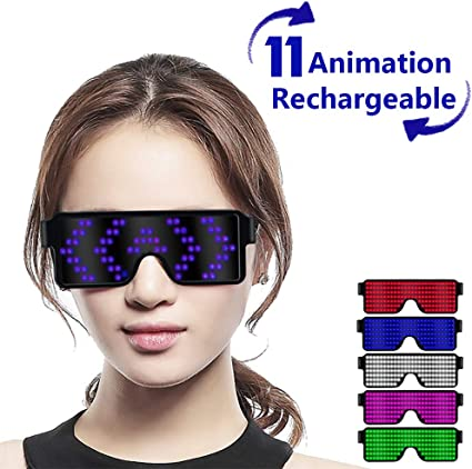 Customizable LED Glasses Light Up USB Rechargeable 8 Patterns LED Luminous Glasses for Raves Parties Halloween Nightclub Christmas Pink