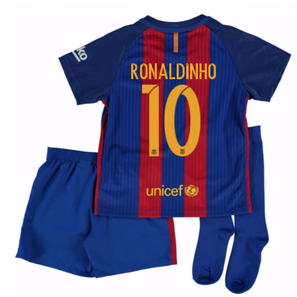 2016-17 Barcelona Home Little Boys Mini Kit (With Sponsor) (Ronaldinho 10) B01N8OF6GA
