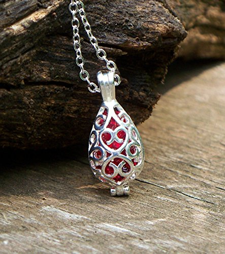 Recycled Vintage 1940's Red Beer Bottle Filigree Teardrop Necklace