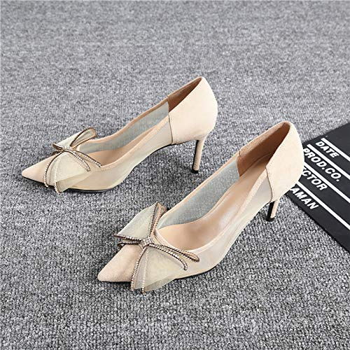 Slip Single Seta Mouth alti Da Scarpe Alti In Shallow Pu Pointed Donna Con Bow Yukun Tacchi Black Bud Tacchi Pq7wx86PB