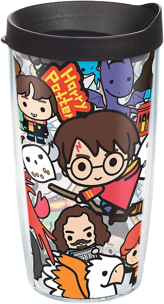 Tervis Harry Potter - Group Charms Tumbler with Wrap and Black Lid 16oz, Clear