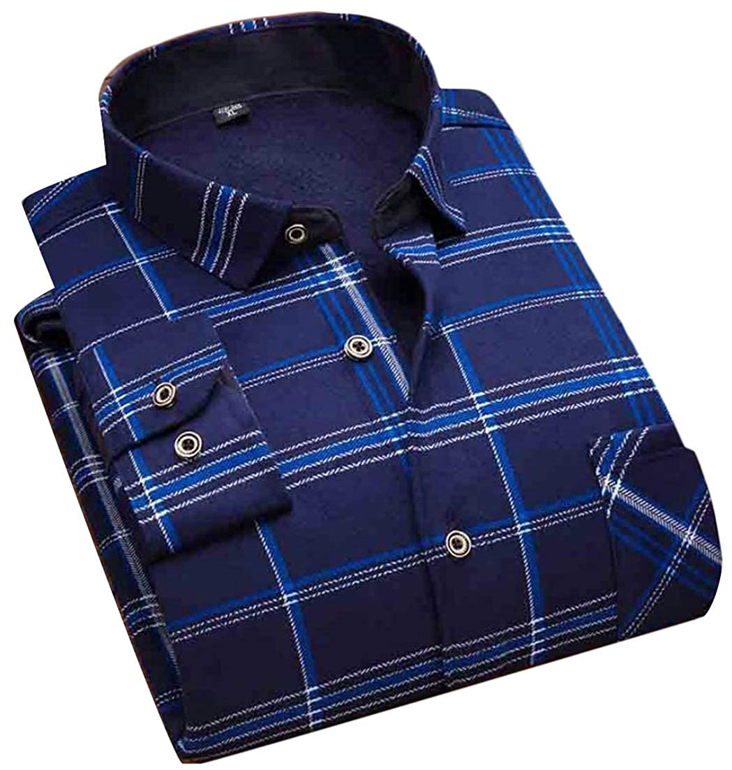 Hajotrawa Men Autumn Winter Plaid Fleece Long Sleeve Printing Turn Down Button Up Shirts