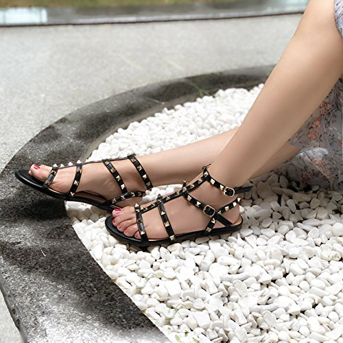 Flat Strap Daily Black Summer Flats Women's Studs Sandals MERUMOTE Buckle Rivets Rx788Z