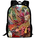 Tigers Orchid Roses Print Custom Casual School Bag Backpack Multipurpose Travel Daypack For Adult