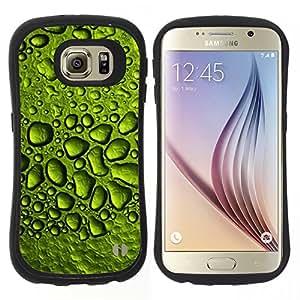 """Hypernova Slim Fit Dual Barniz Protector Caso Case Funda Para Samsung Galaxy S6 [Gotas de rocío de agua de lluvia Hoja Naturaleza""""]"""