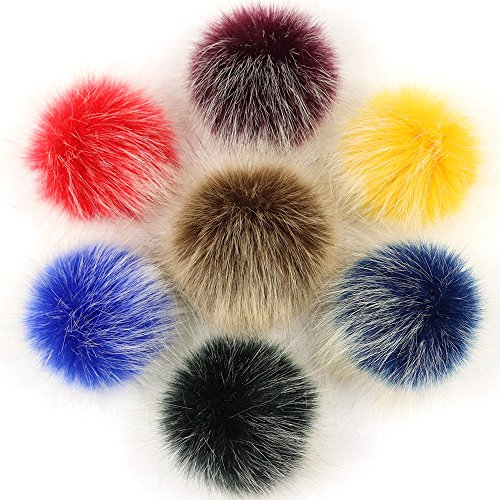 DIY 7PCS Faux Fox Fur Fluffy Pompom Ball for Hats Caps Beanies Shoes Scarves Bag Charms Key Chain Accessories