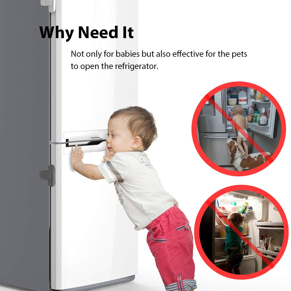 EUDEMON Home Refrigerator Fridge Freezer Door Lock Latch Catch Toddler Kids Child Cabinet Locks Baby Safety Child Lock Easy to Install and Use 3M Adhesive no Tools Need or Drill Grey, 1 Pack