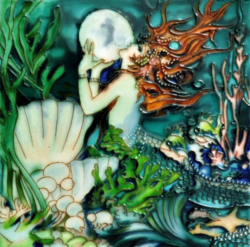 "Pearl Mermaid - Decorative Ceramic Art Tile - 8""x8"" En Vogue"