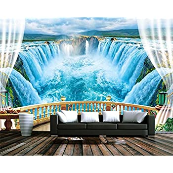 Image of Ai Ya-bihua 3D Wallpaper Landscape Balcony Lake Blue Waterfall White Cloud Forest TV Living Room Background Wall Custom Wallpaper
