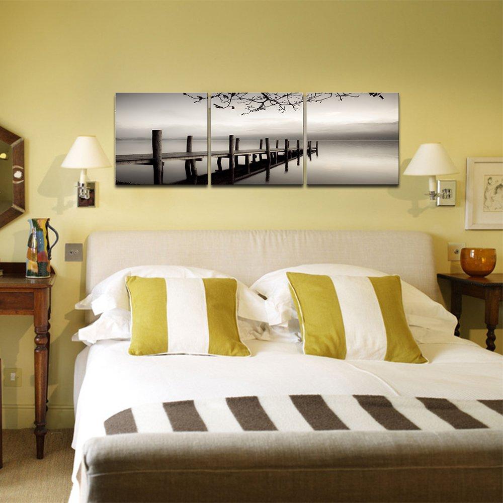 Amazon.com: Pyradecor Peace Large Modern 3 Piece B & W Gallery ...