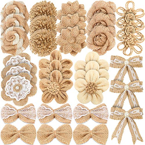 LEOBRO 33PCS Handmade Burlap Flowers Set, 8 Styles Natural Rustic Burlap Flowers & 3 Styles Craft Burlap Lace Pearl Bowknot Great for Wedding Home Decoration Christmas Party DIY Craft Bouquets ()