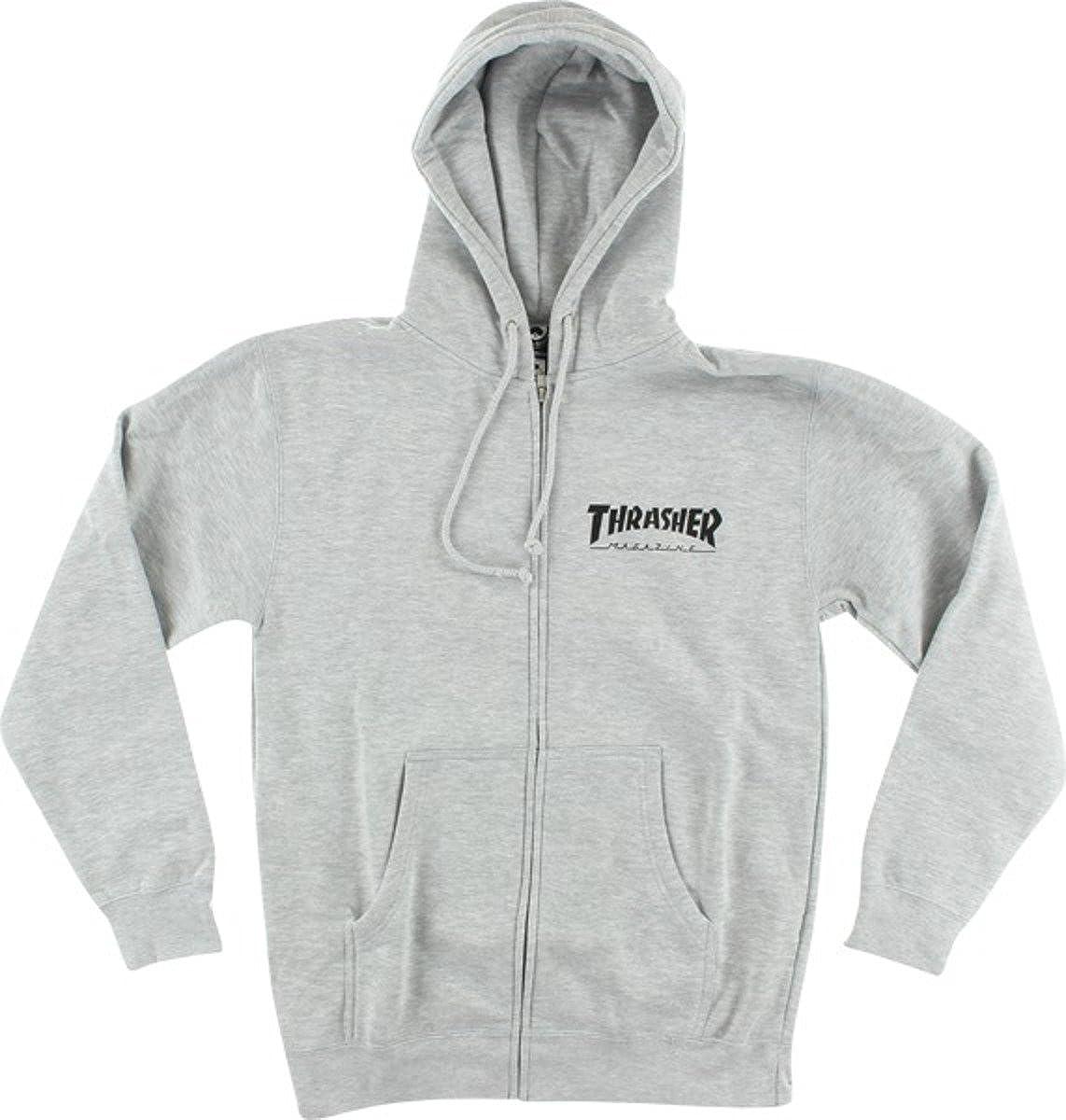 Large Thrasher Magazine Flames Heather Grey Hooded Sweatshirt