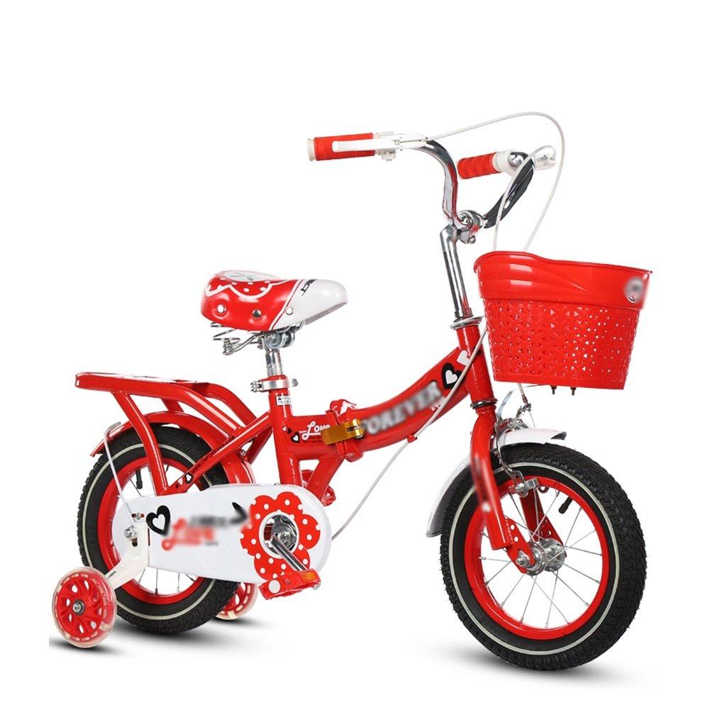 子供用自転車折りたたみ式ベビーカー女の子プリンセスモデルキッズバイク3-10歳レッドブルーピンクパープル B07DVCBPYC赤 16 inch