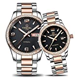 Couple Stainless Steel Automatic Mechanical Watch Sapphire Glass Watches for Her or His Gift Set 2 (Rose Gold/Black)