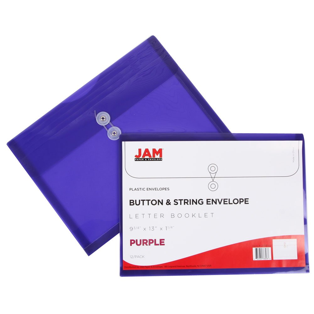 JAM Paper Plastic Envelope with Button and String Tie Closure - Letter Booklet - 9 3/4'' x 13'' - Assorted - 6/pack by JAM Paper (Image #8)