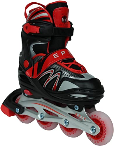 Epic Skates Drift Adjustable Inline Roller Skates W LED Light Up Wheels, Black Red, Adult 5-8
