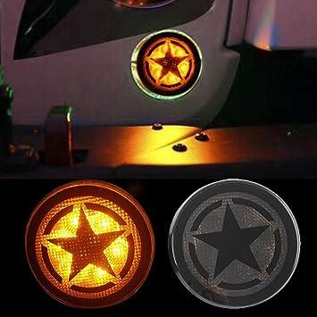 Hooke Road Five Star Turn Signal Lights LED Amber Smoke Lens for 2007-2018 Jeep Wrangler JK /& Wrangler Unlimited