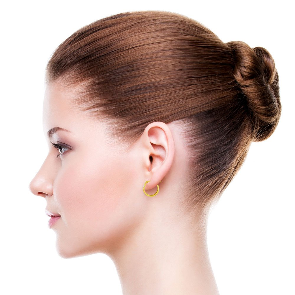 Rose /& White Rhodium Hoop Earring Sparkly 12mm Inner Diameter 14k Yellow Gold
