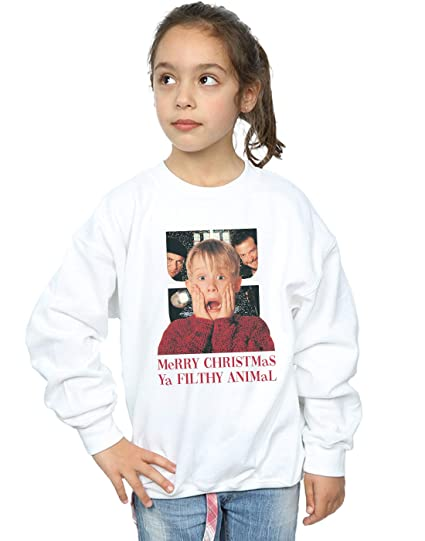 026e1c94 Amazon.com: Home Alone Girls Merry Christmas Ya Filthy Animal Sweatshirt:  Clothing